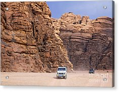 Four Wheel Drive Vehicles At Wadi Rum Jordan Acrylic Print by Robert Preston