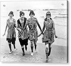 Four Women In 1910 Beach Wear Acrylic Print by Underwood Archives