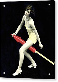 Fourth Of July Rocket Girl Acrylic Print by Underwood Archives