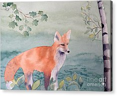 Acrylic Print featuring the painting Fox And Birch by Laurel Best