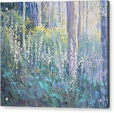 Foxgloves In The Woods Acrylic Print by Jackie Simmonds