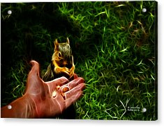 Acrylic Print featuring the digital art Fractal - Feeding My Friend - Robbie The Squirrel by James Ahn