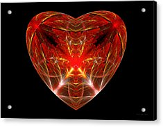 Fractal - Heart - Open Heart Acrylic Print by Mike Savad