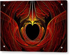 Fractal - Heart - Victorian Love Acrylic Print by Mike Savad