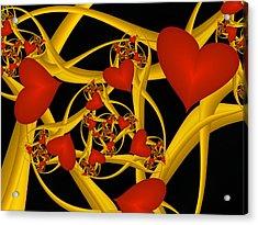 Fractal Love Ist Gold Acrylic Print by Gabiw Art