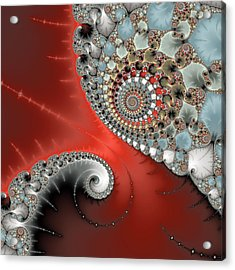 Fractal Spiral Art Red Grey And Light Blue Acrylic Print
