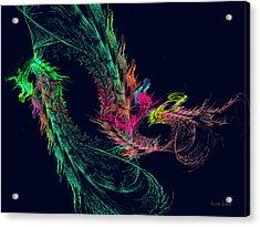 Fractal - Winged Dragon Acrylic Print by Susan Savad