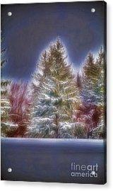 Fractalius Winter Pines Acrylic Print by Jim Lepard