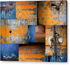 Fragments Antique Metal Acrylic Print by Ann Powell