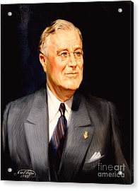 Frainklin Delano Roosevelt Acrylic Print by Art By Tolpo Collection