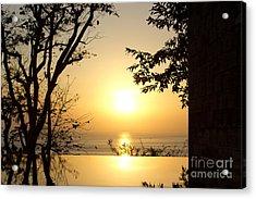 Framed Golden Sunset Acrylic Print