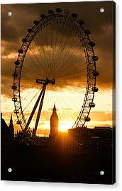 Framing The Sunset In London - The London Eye And Big Ben  Acrylic Print by Georgia Mizuleva