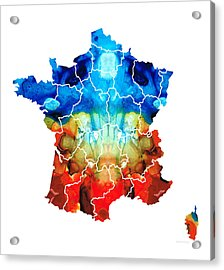 France - European Map By Sharon Cummings Acrylic Print by Sharon Cummings