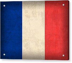 France Flag Distressed Vintage Finish Acrylic Print by Design Turnpike