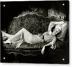 Frances Willams Lying On A Couch Acrylic Print by Cecil Beaton