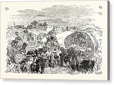 Franco-prussian War Residents Of The Zollinie Flee Acrylic Print by French School