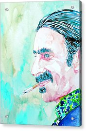 Frank Zappa Smoking A Cigarette Watercolor Portrait Acrylic Print by Fabrizio Cassetta