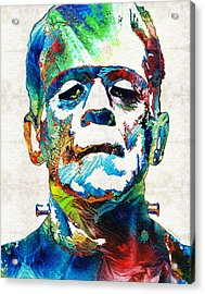 Frankenstein Art - Colorful Monster - By Sharon Cummings Acrylic Print by Sharon Cummings