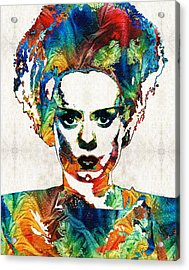 Frankenstein Bride Art - Colorful Monster Bride - By Sharon Cummings Acrylic Print by Sharon Cummings