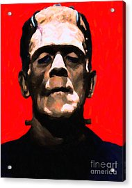 Frankenstein - Painterly - Red Acrylic Print by Wingsdomain Art and Photography