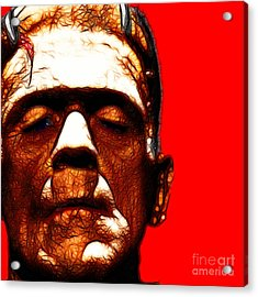 Frankenstein Red Square Acrylic Print