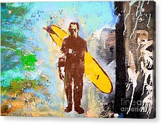 Frankenstein Surf Graffiti Acrylic Print by Amy Fearn