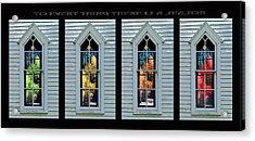 Frankford Church Window In Four Seasons Acrylic Print by Robert J Sadler