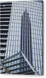 Frankfurt - Exhibition Tower Is Mirroring In A Glass Fassade Acrylic Print by Olaf Schulz