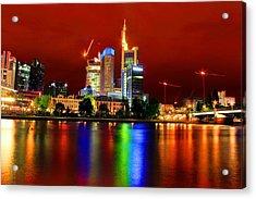 Frankfurt Red Skyline Acrylic Print