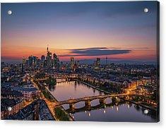 Frankfurt Skyline At Sunset Acrylic Print by Robin Oelschlegel