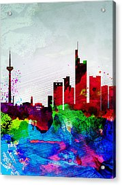 Frankfurt Watercolor Skyline Acrylic Print by Naxart Studio