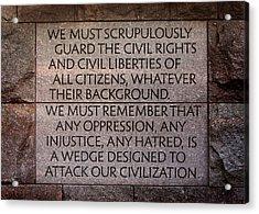 Franklin Delano Roosevelt Memorial Civil Rights Quote Acrylic Print by John Cardamone