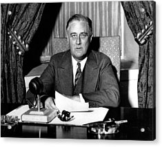 Franklin Delano Roosevelt Acrylic Print by Unknown