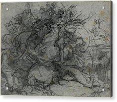 François-nicolas Chifflart, Study For Surprise Battle Acrylic Print