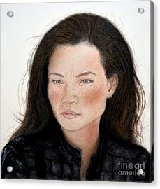 Freckle Faced Beauty Lucy Liu Remake Acrylic Print by Jim Fitzpatrick