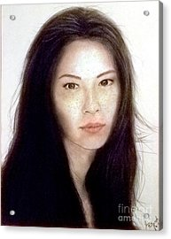 Freckled Faced Beauty Lucy Liu  Acrylic Print by Jim Fitzpatrick