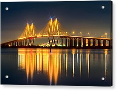 Fred Hartman Bridge At Night Acrylic Print by Tim Stanley
