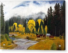 Acrylic Print featuring the painting Free Grazers by Rick Fitzsimons