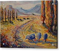 Free State Landscape With Guinea Fowl Acrylic Print