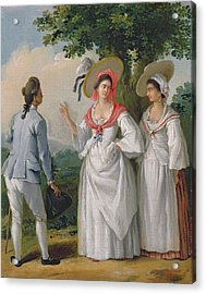 Free West Indian Creoles In Elegant Dress, C.1780 Oil On Canvas Acrylic Print