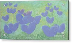 Free Your Hearts Green Lilac Abstract By Chakramoon Acrylic Print by Belinda Capol