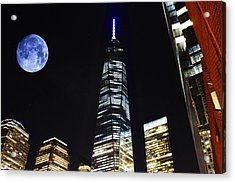 Freedom Tower And Blue Moon Acrylic Print by Natalie Ortiz
