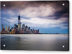 Freedom Tower Over The Hudson Acrylic Print by Chris Halford