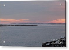 Freeport Winter Sunset At The Nautical Mile Acrylic Print by John Telfer