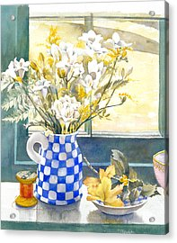 Freesias And Chequered Jug Acrylic Print by Julia Rowntree