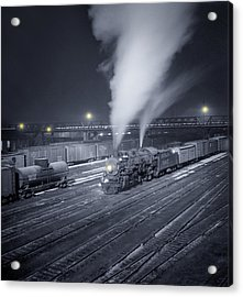 Freight Train About To Leave The Atchison Circa 1943 Acrylic Print