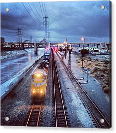 Freight Train On Los Angeles River Acrylic Print