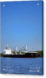 Freighter On River Acrylic Print