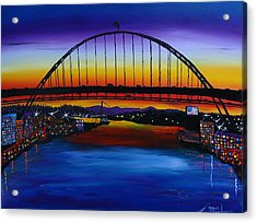 Fremont Bridge At Dusk 5 Acrylic Print by Portland Art Creations