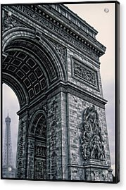French - Arc De Triomphe And Eiffel Tower II Acrylic Print by Lee Dos Santos